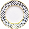 "Lomonosov Imperial Porcelain Dinner Plate Cobalt Net Flat 10.6""/270 mm"