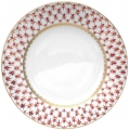 Lomonosov Imperial Porcelain Dinner Plate Smooth Red Net Flat 270 mm