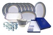 Lomonosov Porcelain Dinner Set Cobalt Net with Kitchen Linen