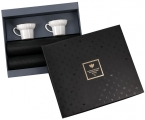 Lomonosov Imperial Porcelain Gift Set 2 Cups Wave Gold Edging and 2 Serving Napkin Mats