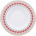 "Lomonosov Imperial Porcelain Soup Plate Red Reindeer 8.9""/225 mm"