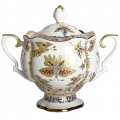 Lomonosov Imperial Porcelain Sugar Bowl Fantastic Butterflies