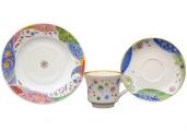 Lomonosov Imperial Porcelain Tea Cup Set 3 pc Banquet Carnival 7.4 oz/220 ml