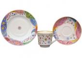 Lomonosov Imperial Porcelain Tea Cup Set 3 pc Banquet Confetti 7.4 oz/220 ml