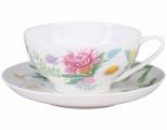 Lomonosov Imperial Porcelain Tea Set Cup and Saucer Dome Wildflowers #2