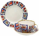 Lomonosov Imperial Porcelain Tea Set Cup, Saucer and Dessert Plate Tulip Russian Lubok