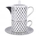 Lomonosov Imperial Porcelain Teapot and Tea Сup Platinum Net Solo