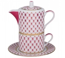 Lomonosov Porcelain Gift Set Solo Teapot and Tea Cup Red Net