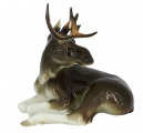 Moose Relaxing Lomonosov Imperial Porcelain Figurine