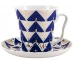 Lomonosov Imperial Porcelain Mug Cobalt Pattern Kalevala Leningradskii-2 12.2 fl.oz 360 ml