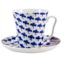 Lomonosov Imperial Porcelain Mug Cobalt Pattern Okinava Leningradskii-2 12.2 fl.oz 360 ml