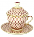 Lomonosov Imperial Porcelain Covered Cup and Saucer Red Net Gift-2 8.45 oz/250 ml