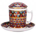 Lomonosov Imperial Porcelain Covered Tea Mug and Saucer Gothic-1