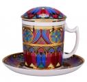 Lomonosov Imperial Porcelain Covered Tea Mug and Saucer Gothic-7 12.8 oz