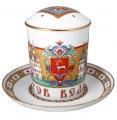 Lomonosov Imperial Porcelain Covered Tea Mug and Saucer Rostov 12.8 oz