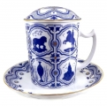 Lomonosov Imperial Porcelain Covered Tea Mug and Saucer Souvenir 12.8 oz