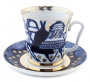 Lomonosov Imperial Porcelain Mug and Saucer Bells Leningradskii 12.2 fl.oz/360 ml