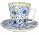 Lomonosov Imperial Porcelain Mug and Saucer Bindweed Leningradskii 12.2 fl.oz/360 ml