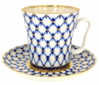 Lomonosov Imperial Porcelain Mug and Saucer Cobalt Net Leningradskii 12.2 fl.oz/360 ml