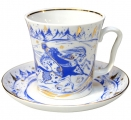 Lomonosov Imperial Porcelain Mug and Saucer TROIKA Leningradskii 12.2 fl.oz/360 ml