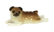 Pug Dog Lying Lomonosov Porcelain Figurine