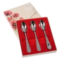Stainless Steel Tea Spoons Set 6 Silver Poppies