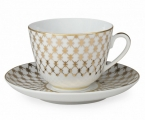 Lomonosov Imperial Porcelain Tea Cup Set Spring Jazz Golden Net 7.8 oz/230ml