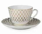 Lomonosov Imperial Porcelain Tea Cup Set Spring Jazz Golden Net 7.8 oz/230ml