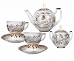 Lomonosov Imperial Porcelain Tea Set Andante Russian Modern 6/14