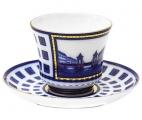 Lomonosov Imperial Porcelain Tea Set Cup abd Saucer Banquet Lomonosov Bridge 7.4 oz/220 ml