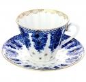 Imperial Lomonosov Porcelain Tea Cup and Saucer Basket 2pc