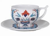 Lomonosov Imperial Porcelain Tea Set Cup and Saucer Kostroma Cornflower 10 oz/300 ml