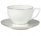 Lomonosov Imperial Porcelain Tea Set Cup and Saucer Pearl Golden Ribbon Bone China 11.5 oz/340 ml