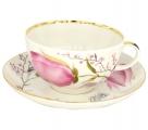 Imperial Lomonosov Porcelain Tea Set Cup and Saucer Tulip Pink Tulips 8.45 oz/250 ml