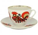Lomonosov Imperial Porcelain Tea Set Cup and Saucer Spring Red Cockerels 7.8 oz/230ml