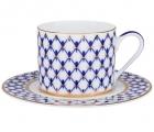 Lomonosov Imperial Porcelain Tea Set Cup and Saucer Solo Cobalt Net 7.4 oz/220 ml