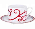 Lomonosov Imperial Porcelain Tea Set Cup and Saucer Solo Red Reindeer 10.1oz/300 ml