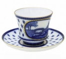 Lomonosov Imperial Porcelain Tea Set Cup and Saucer Swan Bridge 7.4 oz/220 ml