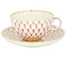 Lomonosov Imperial Porcelain Tea Set Cup and Saucer Tulip Red Net Blues 8.45 oz/250 ml