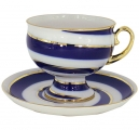 Lomonosov Imperial Porcelain Tea Set Cup and Saucer Twisted Loop 11 oz/325 m