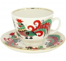 Lomonosov Imperial Porcelain Tea Set Cup and Saucer Two Roosters