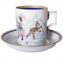 Lomonosov Imperial Porcelain Tea Set Cup and Saucer Winter Fun (2) 7.4 oz/220 ml