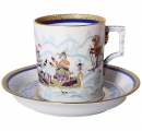Lomonosov Imperial Porcelain Tea Set Cup and Saucer Winter Fun (3) 7.4 oz/220 ml