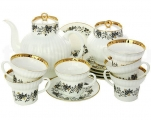 Lomonosov Imperial Porcelain Tea Set Tiny Branches Wave Bone China 6/20