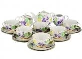 Lomonosov Imperial Porcelain Tea Set Tulip Forest Violets 6/21