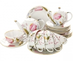 Lomonosov Imperial Porcelain Tea Set Tulip Pink Tulips 6/21