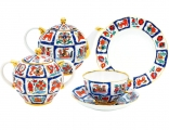 Lomonosov Imperial Porcelain Tea Set Tulip RUSSIAN LUBOK 6/20