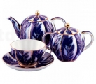 Lomonosov Imperial Porcelain Tea Set Tulip Winter Night 6/15