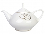 Lomonosov Imperial Porcelain Bone China Tea Pot Dome Golden Curls 47.3 fl.oz/1400 ml