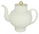 Lomonosov Imperial Porcelain Bone China Tea Pot Wave Golden Edge 27 fl.oz/800 ml